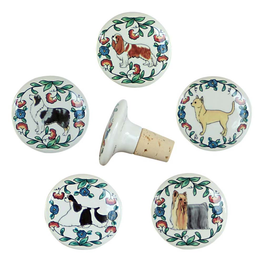 Dog breed wine stoppers from shepherds-grove.com